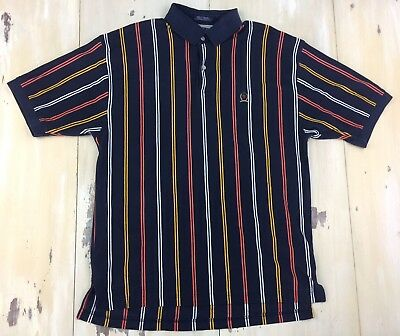 f5034efcfe9 TOMMY HILFIGER: Vtg 90s Mens Color Block Striped Navy Blue S/S Polo Shirt