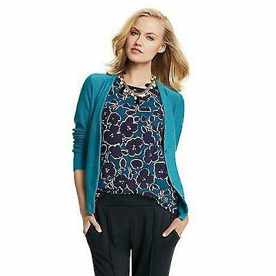CAbi #3087 Warhol Floral Top in Teal and Navy, size Medium NWOT