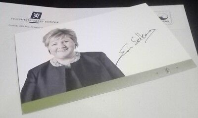 Erna Solberg Original Autogramm Signiert Hand Signed Foto President Norge Norway