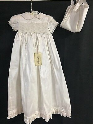 NWT Amacello Boutique Infant Girls Ivory Silk Christening Gown Size 0/3 Month