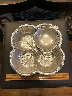 Wilton Co. RWP Armetale Pewter Cabbage Leaf Chip & Dip Snack Bowl 2pc set RARE