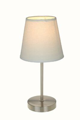 Lamp Table White Bed Reading Sand Nickel Bedroom Office Fabric Shade LED Light