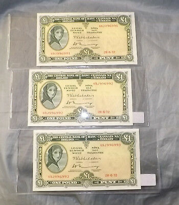 3 Consecutive Irish Ireland - 1972 Irish Lavery £1 Note XF+ One Pound Banknote
