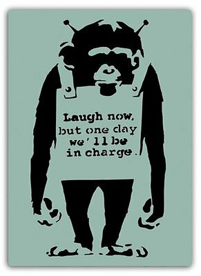 Laugh Now Monkey Metal Wall Sign Plaque Art Inspirational Banksy Graffiti Street