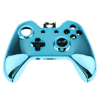Plastic Cover Case Front Housing Shell for Xbox One E Controllers Chrome Blue