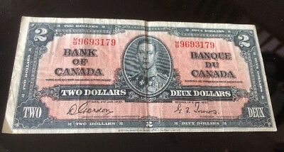 1937 - Canada $2 bill - Canadian Two dollar note - Gordon/Tower