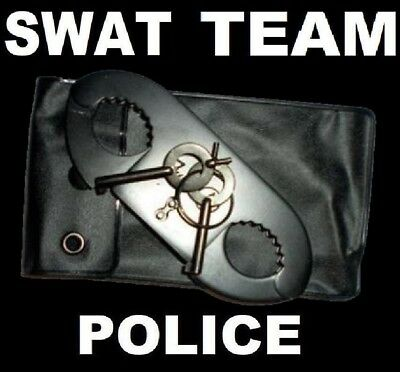THUMB CUFFS SWAT TEAM BLACK POLICE GRADE Steel Double Lock