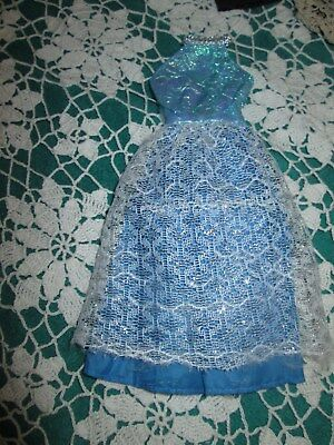 Vintage Barbie Very Pretty Blue & White Dress Gown Replacement Euc