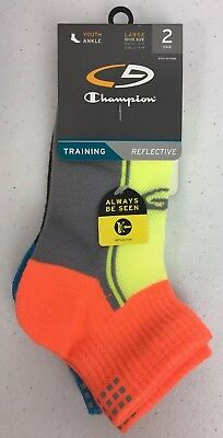 Champion Youth Socks Ankle Training Reflective 2 Pair Large Boys/Girls NWT (B17)