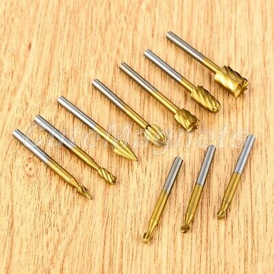 Milling Rotary Burr Router Bits Files Wood Cutter Carpenter Carving Tool Set 10x