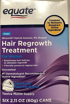 Equate Foam Topical Hair Regrowth Treatment Women OPENED BOX. Exp 10/2019.