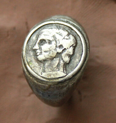 Ancient Roman Silver Ring Head of Emperor  D Size-18mm 17gm Quality rare