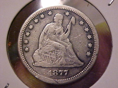 1877-CC Seated Liberty Quarter Coin, Rare Date