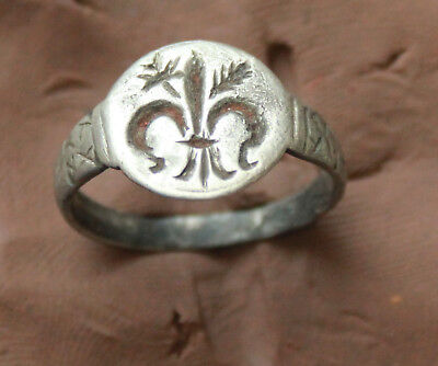 Crusaders  Ancient  Silver Ring Lily Cross  D Size-18mm 2,5gm Quality rare