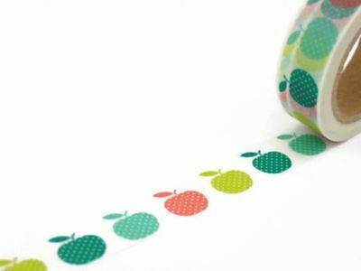 Colourful Apples Washi Masking Paper Tape - 15mm x 10 Metres Roll