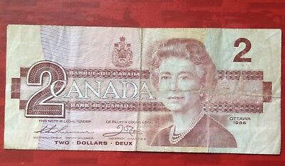 1986 Canada Two Dollars Banknote Circ,
