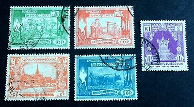 5 nice old used stamps Union of Burma