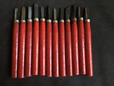 Lot of 12 Vintage Wood Clay Carving Chisel Tolls Knives Stamped Japan
