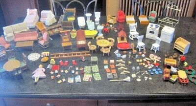 Huge Lot Vintage Dollhouse Furniture, Accessories & Doll Over 170 pieces