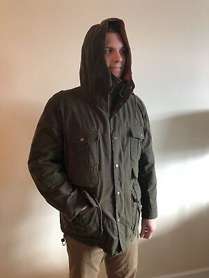 Men's Olive Barbour Waxed Jacket XL