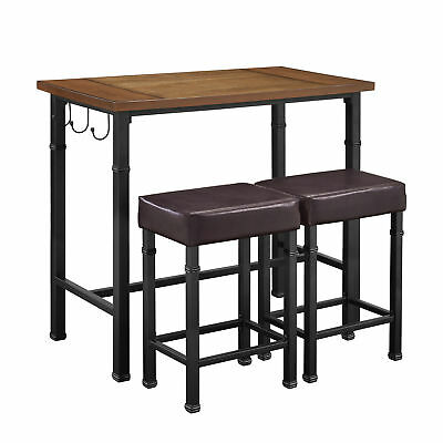 Linon Mdf Wood Three Piece Table Set With Black Metal Finish 030413MTL01U