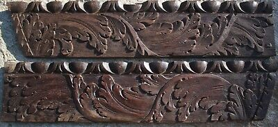 Pair of ANTIQUE CARVED OAK PANELS, 17th Century Flemish Gothic Medieval