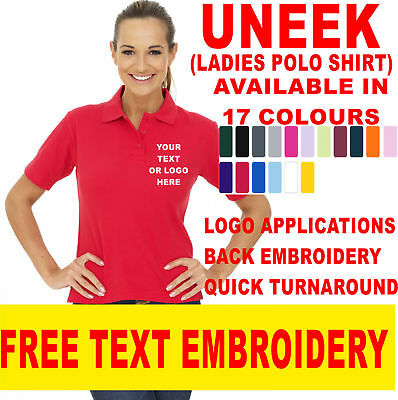 Uneek Ladies Polo Shirt Size 8 to 22 Women Casual Tee Classic Fit Work UC106 EMB