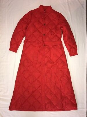 Vintage Eddie Bauer Quilted Goose Down Feather Long Robe House Coat Red