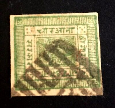 amazing old used stamp Nepal green