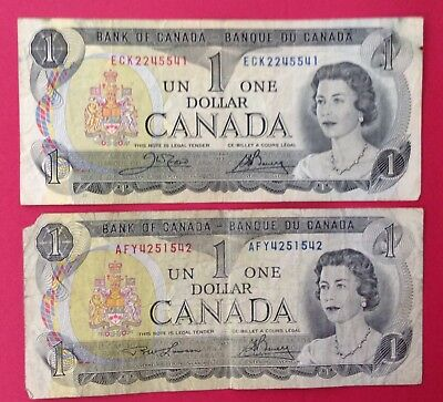 TWO 1973 Canada One Dollar Banknote Circulated