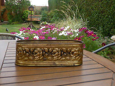 Superb Antique Victorian Brass Jardiniere-Long Shape and Floral Embossed Pattern