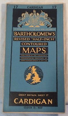 "Collectable Vintage ""Cardigan"" Sheet 17 Revised ""Half Inch"" Map By Bartholomew's"