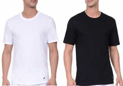 3Pack Nautica Men's Stretch Crew Neck Classic Fit T-shirts Black White S M L XL