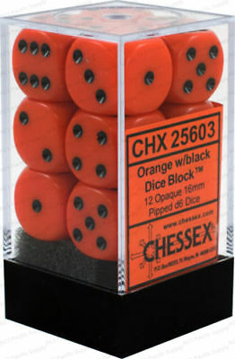 Chessex Opaque Orange with Black 16mm 12ct. Dice CHX 25603