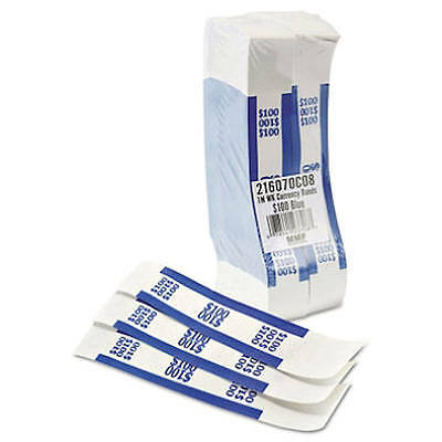 Self Sealing Currency Straps, Money Bands, $100 Blue, 1000 pack