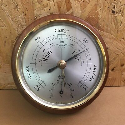 Vintage Shortland Instruments Wall Barometer with Wooden Frame - 15cm Dia