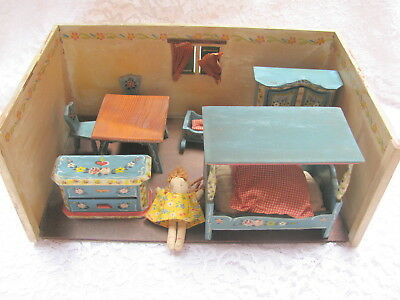 Vintage 1960s Dora Kuhn Wooden Doll House and Furnishings West Germany