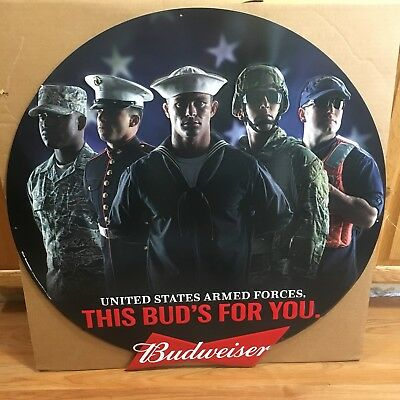 """Budweiser  U.S. Armed Forces Military Beer Bar Metal Tin Sign RARE !! Brand New"""""""