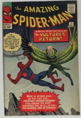 AMAZING SPIDER-MAN #7 1963 Marvel VG 4.0 or Better VULTURE 2nd Appearance, DITKO