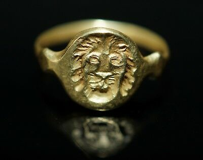 Lovely Medieval Period Solid Gold Lion's Head Seal Ring. Wearable Size.