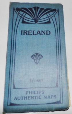 Philips Authentic Map of Ireland 1904 Linen Backed Colored Folding 24x20 inches