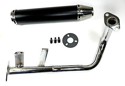 GY6 50cc Scooter Performance Exhaust Muffler 4  Stroke QMB139 Black Cannister