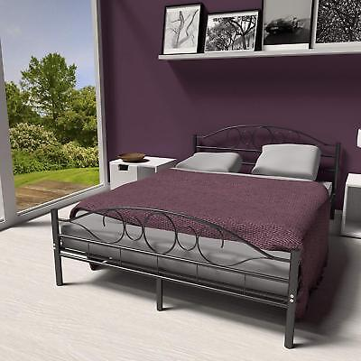 Modern Metal Double Bed Frame Bedroom Furniture Home Contemporary Classic Style