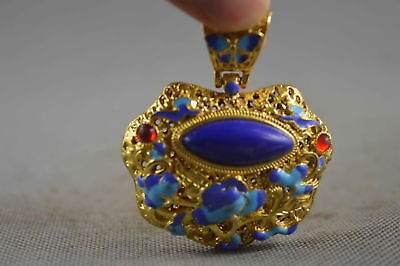 Collectable Handwork Copper & Cloisonne Carve Flower Inlay Agate Lucky Pendant