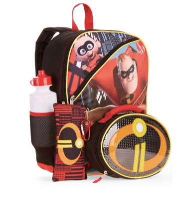 Disney Incredibles 2 Boys Girls School Backpack Book Bag Lunch Box SET Mask Kids