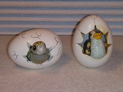 2 VINTAGE Bird Hatching From Egg Parrot? Signed MEXICO Sculpture Art