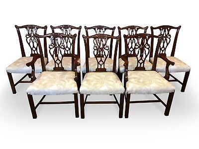 8 Chippendale Style Mahogany Chairs Pro French Polished & Uphostered
