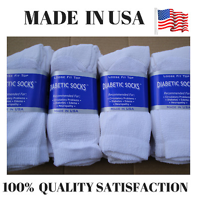 Creswell Top Quality 12 Pairs Made In USA Diabetic Socks White Crew 13-15 Size