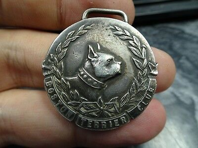 Boston Terrier Club 5th Prize Boston 1907 Sterling Silver Medal Watch Fob Award