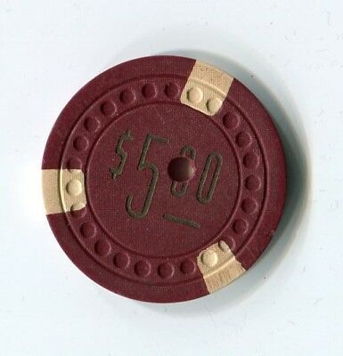 """++++ $$$ OLD 1930s LAS VEGAS CLUB $5 DOWNTOWN  """" Dots Mold """" CASINO CHIP"""